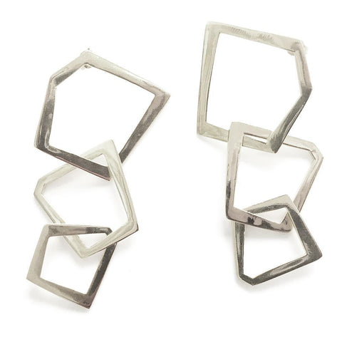 Large Triple Hoop Silver Earrings