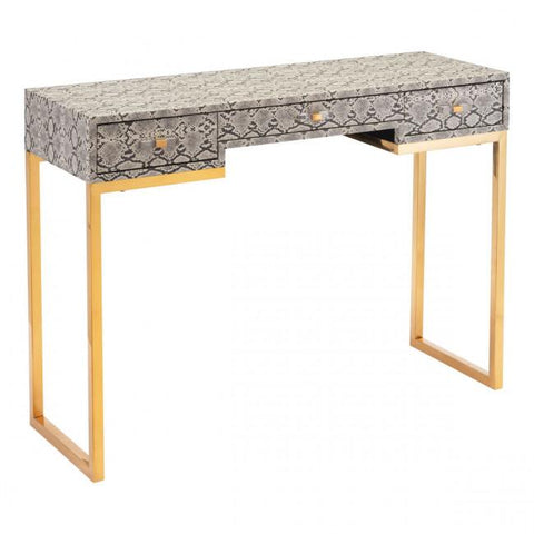 Lecce Faux Snake Skin Console or Desk in White