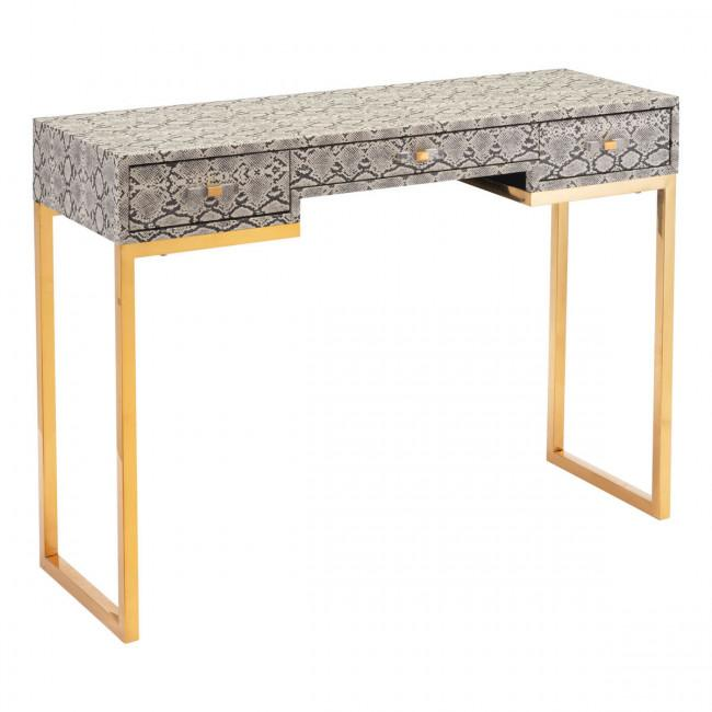 Lecce Faux Snake Skin Console or Desk in White-Home - Furniture - Buffets + Consoles-ZUO MODERN-Peccadilly