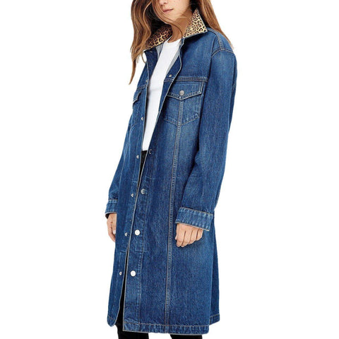 Long Denim Jacket in Blue