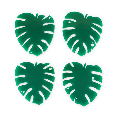Lush Monstera Leaf Acrylic Coasters (4 ct)