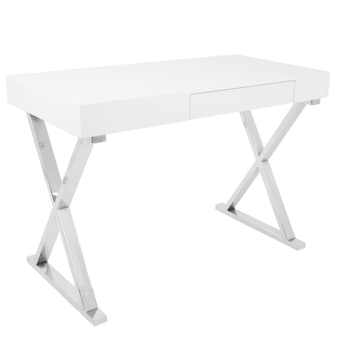 Luster Contemporary Desk in White