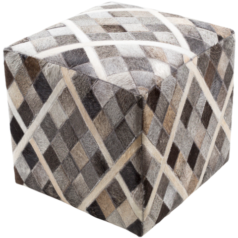 Lycaon Hand Stitched 18 x 18 x 18 Pouf in Hide Neutrals