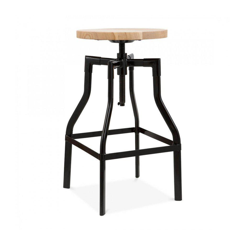 Machinist Black Adjustable Barstool Ash Wood Seat-DESIGN LAB MN-Peccadilly