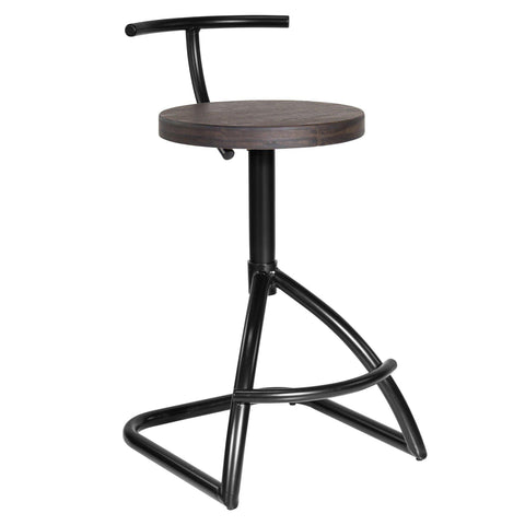 Mantis Industrial style Counter Stool in Black Metal with Espresso Wood Seat