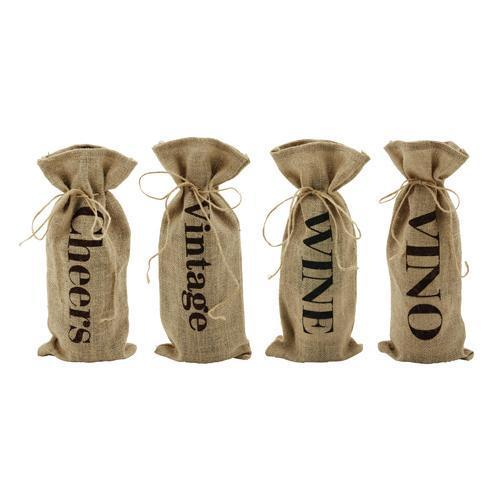 Marketplace Assorted Jute Message Bottle Sacks Set of 4-Home - Gifting - Bottle Bags-TWINE-Peccadilly