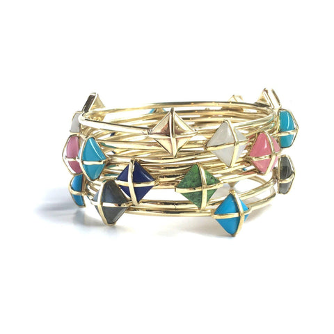 Martin 24k Gold Gemstone Bangle Bracelets