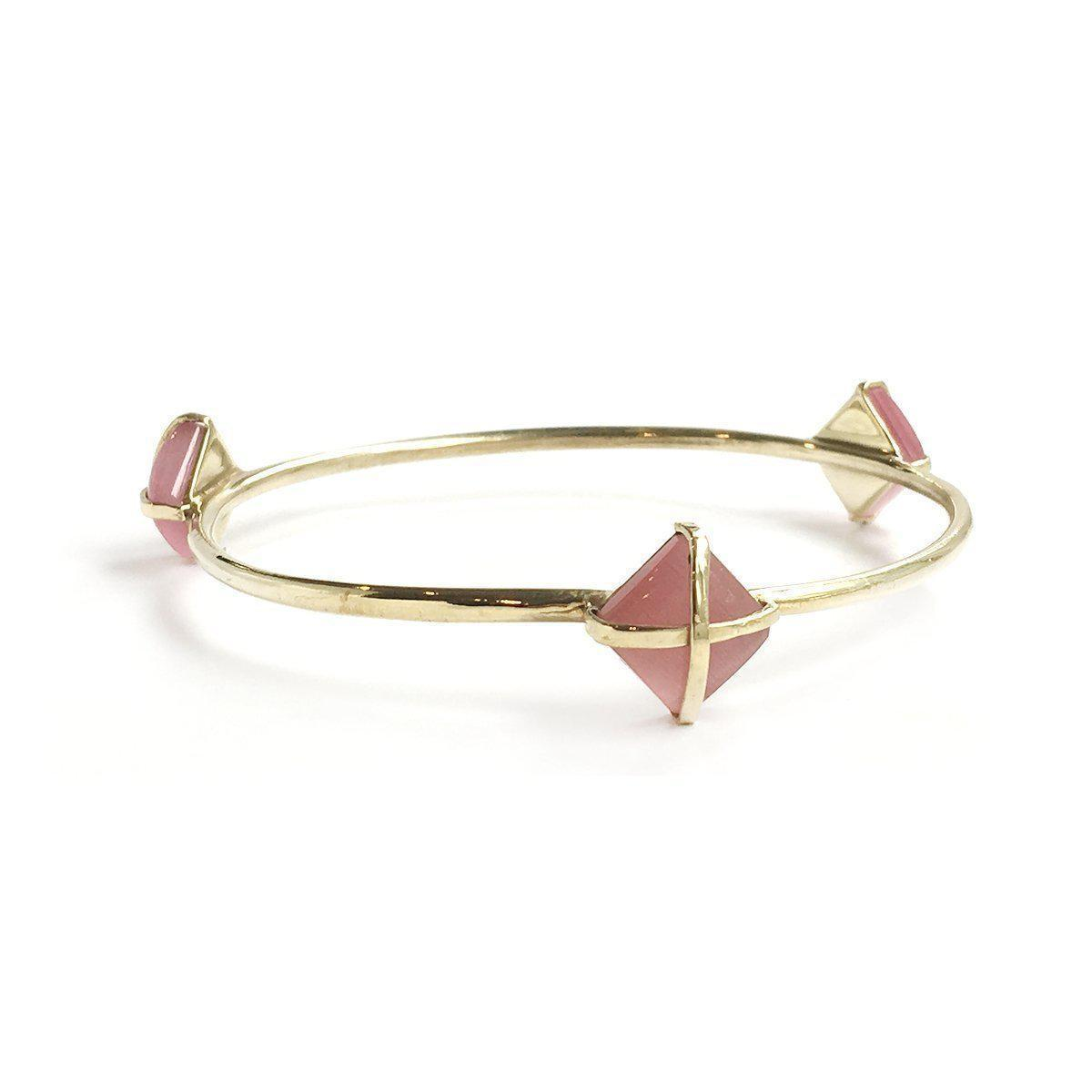 Martin 24k Gold Gemstone Bangle Bracelets-Women - Jewelry - Bracelets-ADDISON WEEKS-Pink Quartz-Peccadilly
