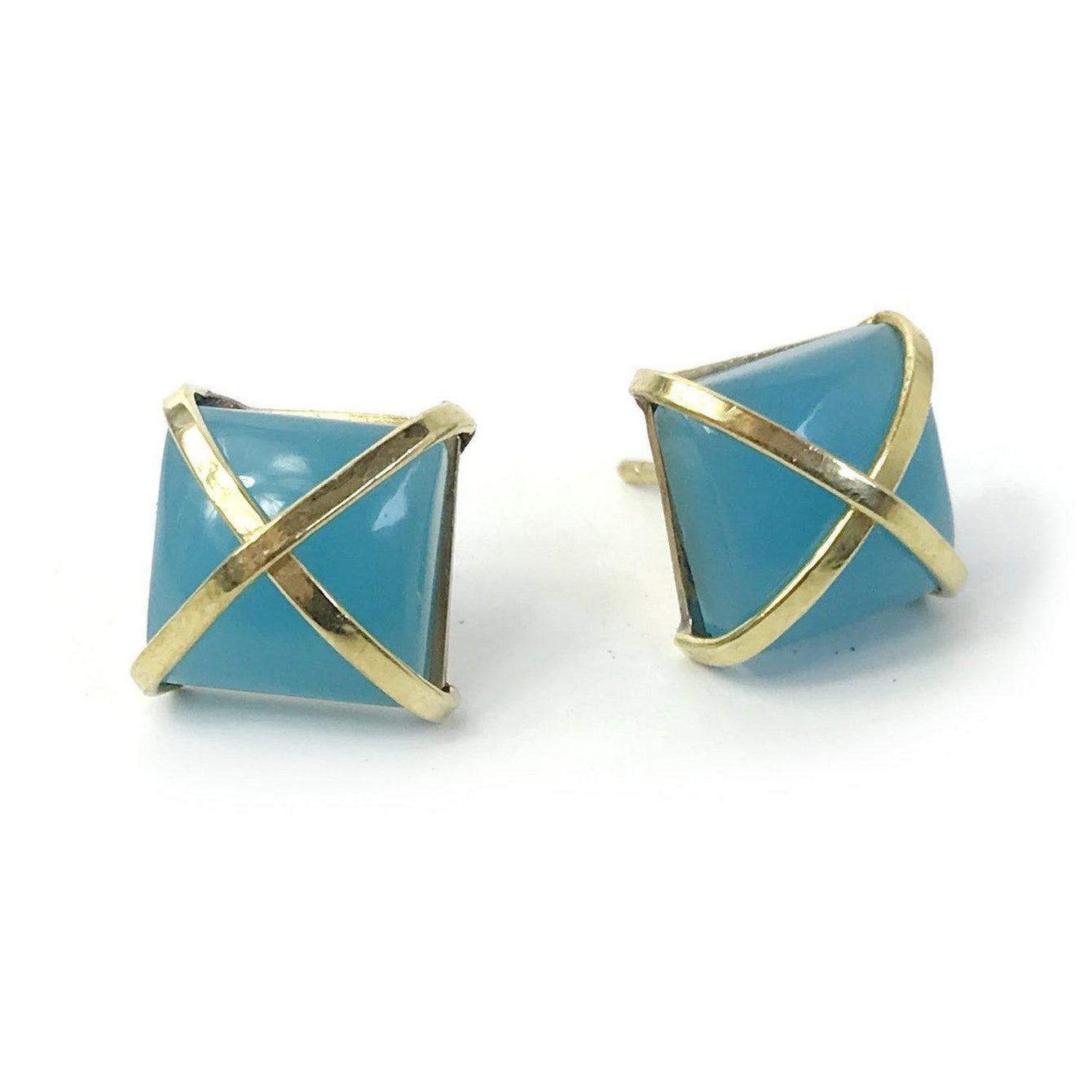 Martin 24k Gold Gemstone Criss Cross Studs-Women - Jewelry - Earrings-ADDISON WEEKS-Aquamarine-Peccadilly