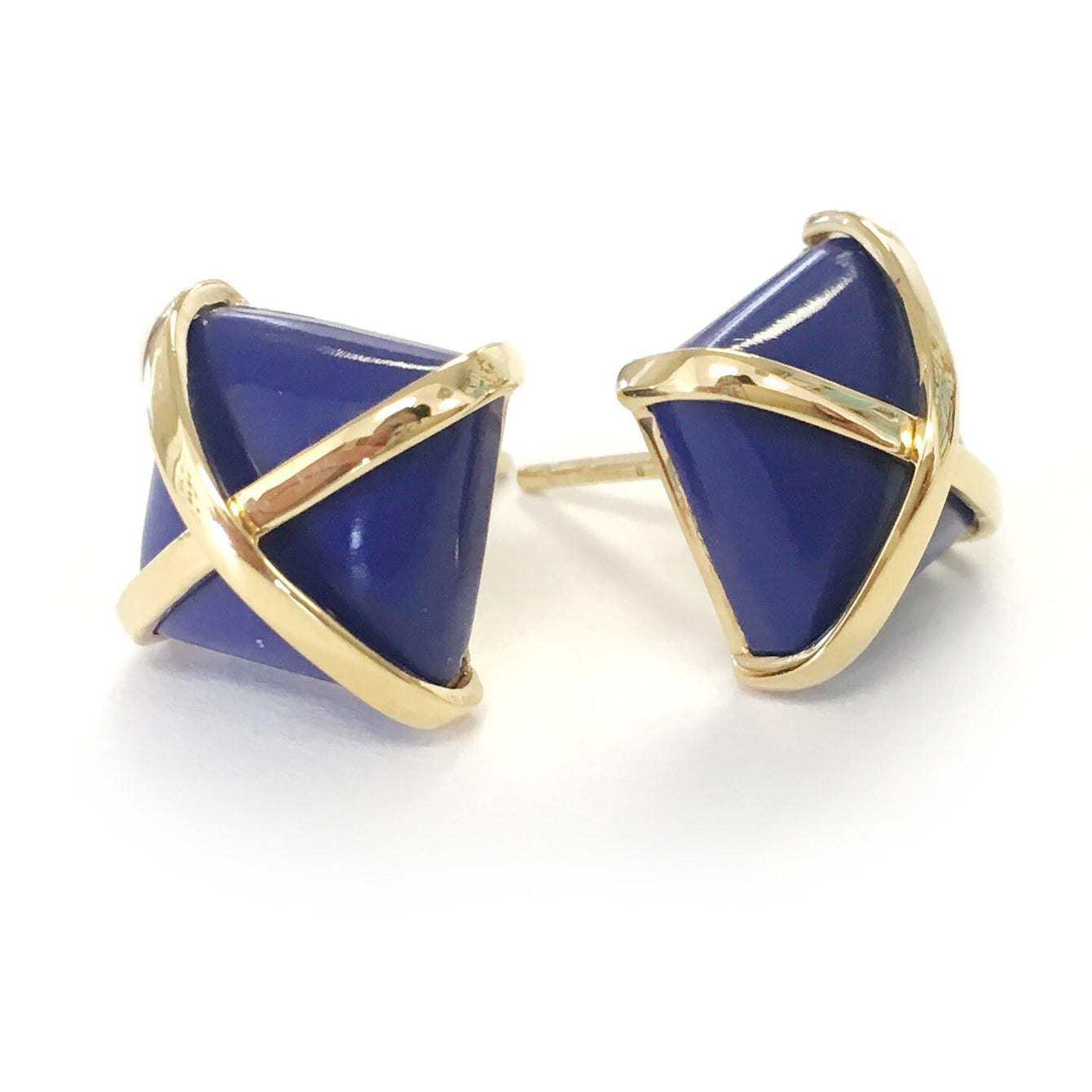 Martin 24k Gold Gemstone Criss Cross Studs-Women - Jewelry - Earrings-ADDISON WEEKS-Lapis-Peccadilly