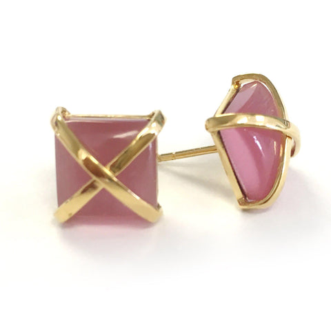 Martin 24k Gold Gemstone Criss Cross Studs