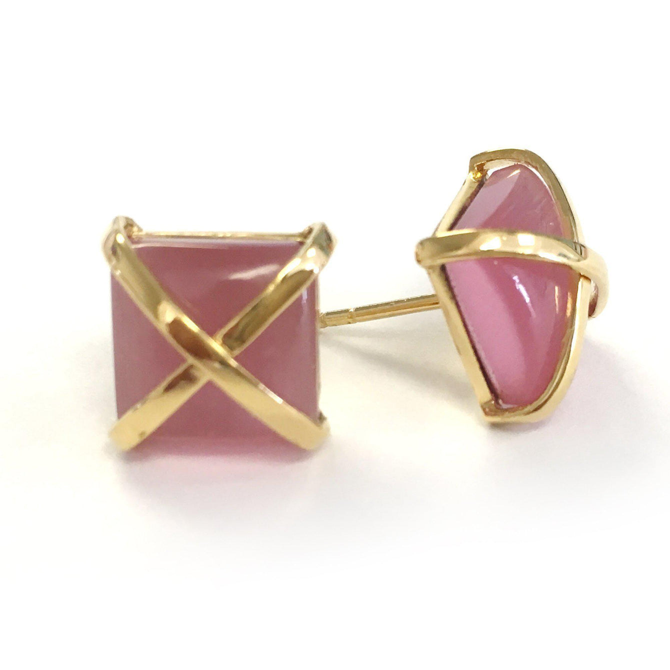 Martin 24k Gold Gemstone Criss Cross Studs-Women - Jewelry - Earrings-ADDISON WEEKS-Pink Quartz-Peccadilly