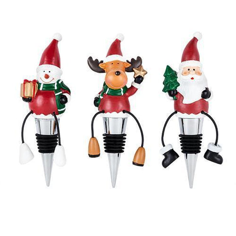 Merry Holiday Wine Bottle Stoppers Set of 3