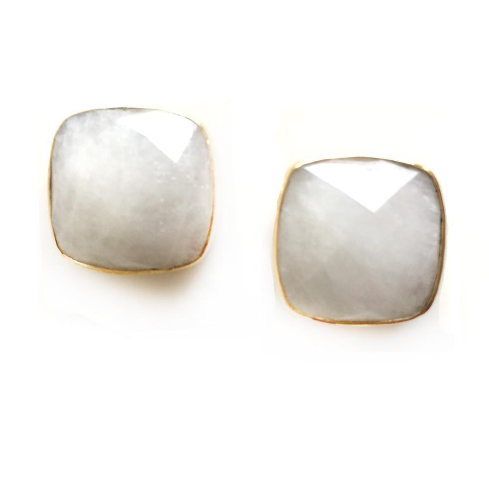 Hutchinson Faceted Genuine Gemstone Studs-Women - Jewelry - Earrings-ADDISON WEEKS-Moonstone-Peccadilly