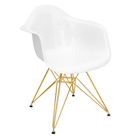 Neo Flair Mid-Century Modern Dining/Accent Chair in White and Gold