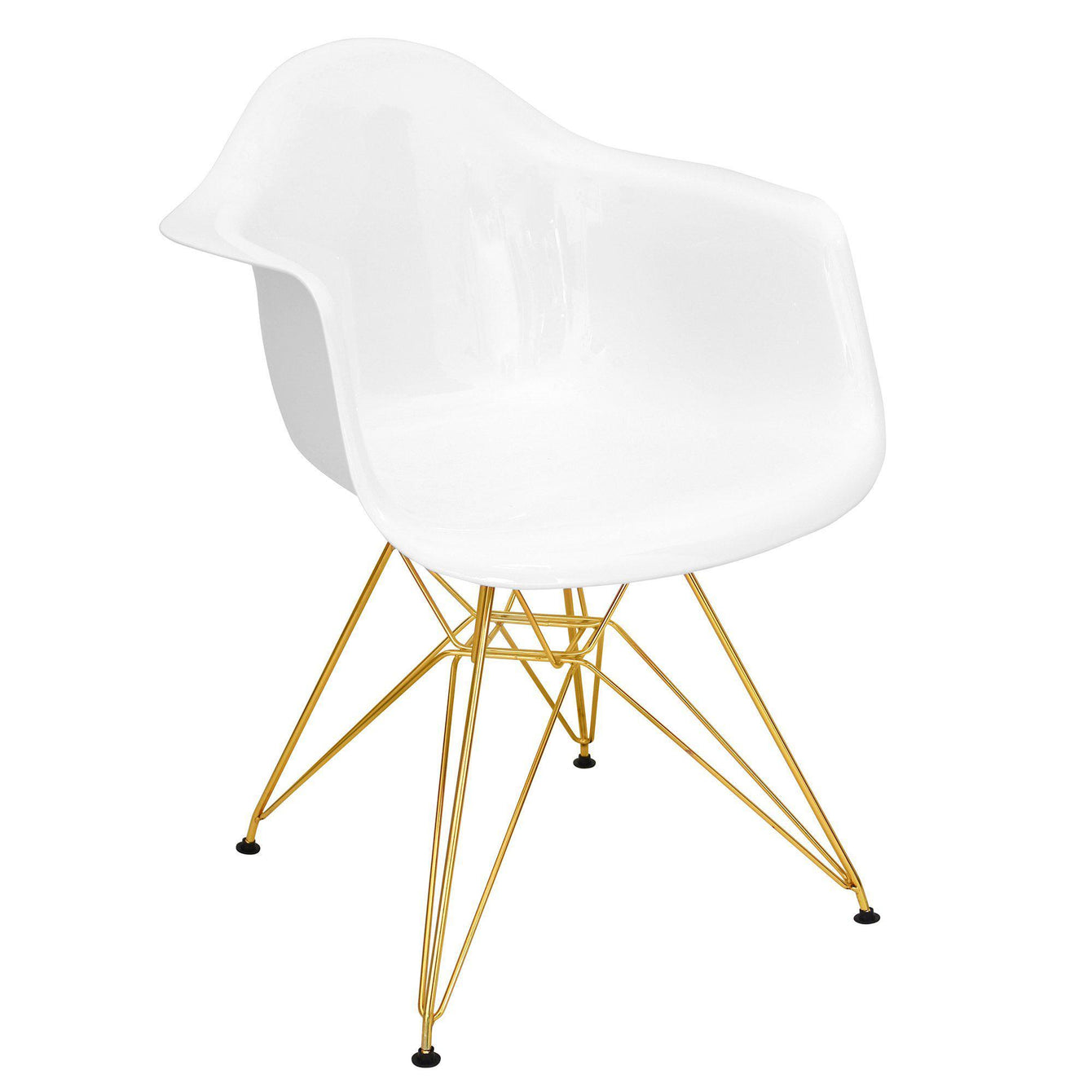 Neo Flair Mid-Century Modern Dining/Accent Chair in White and Gold-LUMISOURCE-Peccadilly