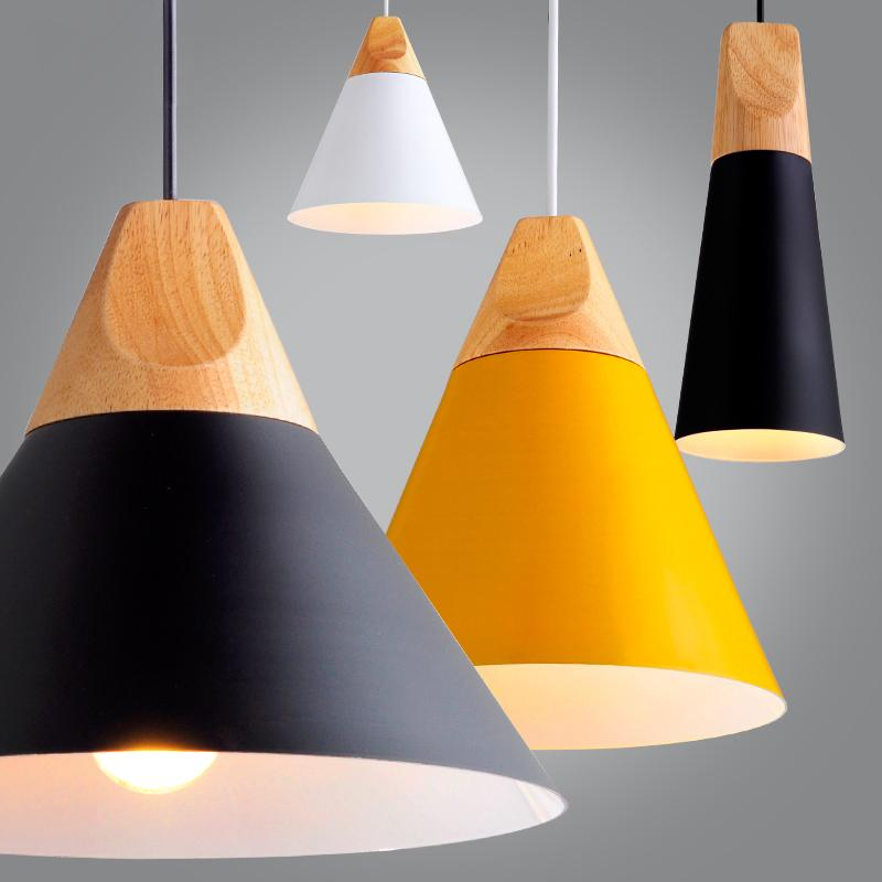 Nordic Wood Aluminum Cone Pendant Lights-Home - Lighting - Ceiling Lights-TOOLERY-A Model-Black-3W warm white bulb-Peccadilly