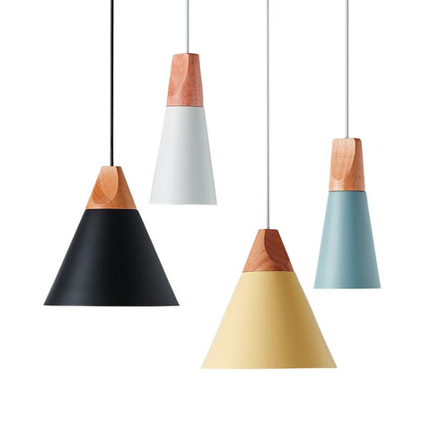 Nordic Wood Aluminum Cone Pendant Lights