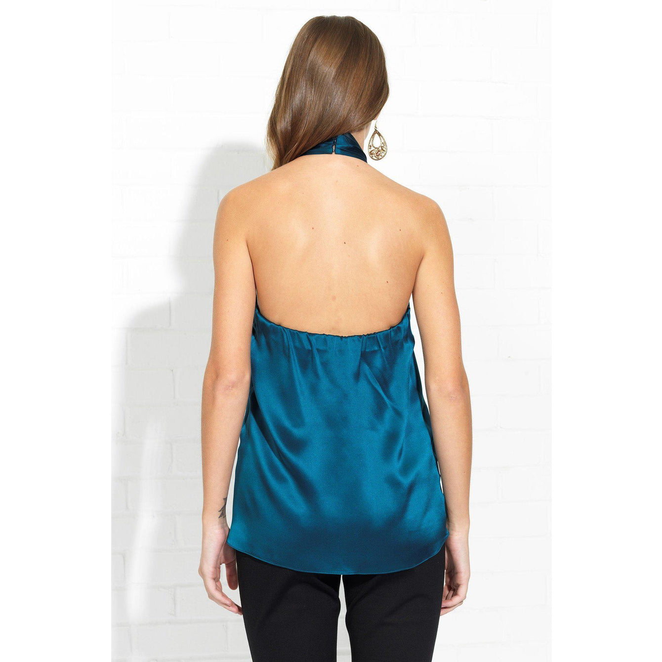 Novara Silk Charmeuse Top in Mallard-Women - Apparel - Blouses-AMANDA UPRICHARD-S-Peccadilly