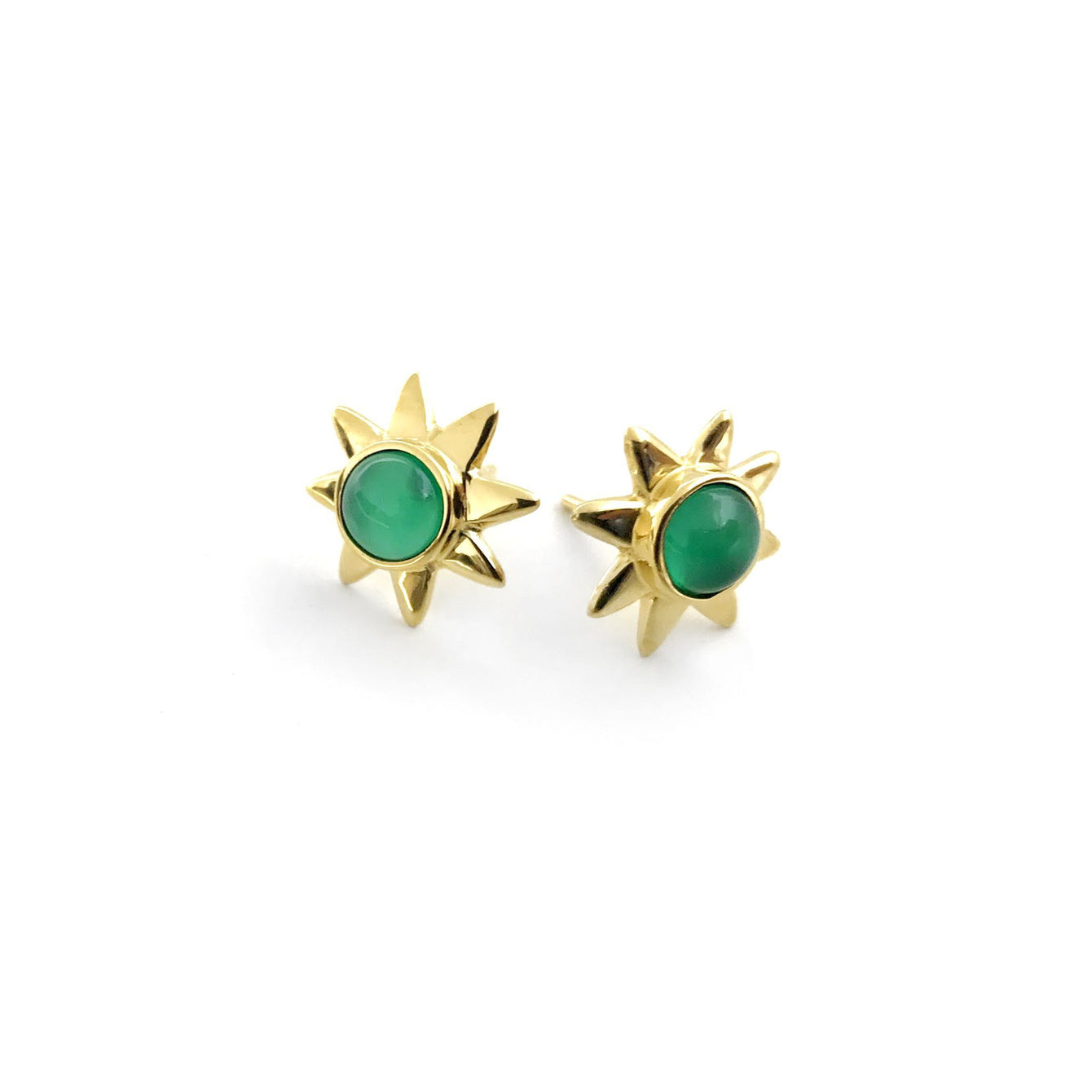 Starr 24k Gold Studs Genuine Gemstone Earrings-Women - Jewelry - Earrings-ADDISON WEEKS-Emerald-Peccadilly