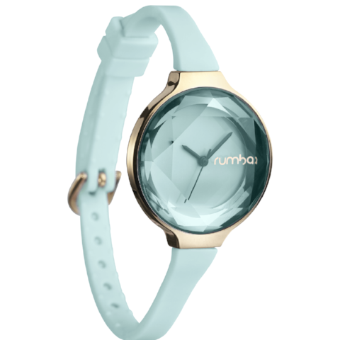 Orchard Gem Silicone & Facted Face Watch in Rose Gold