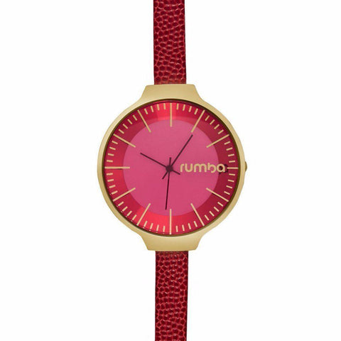 Orchard Leather Watch in Merlot Red & Yellow Gold