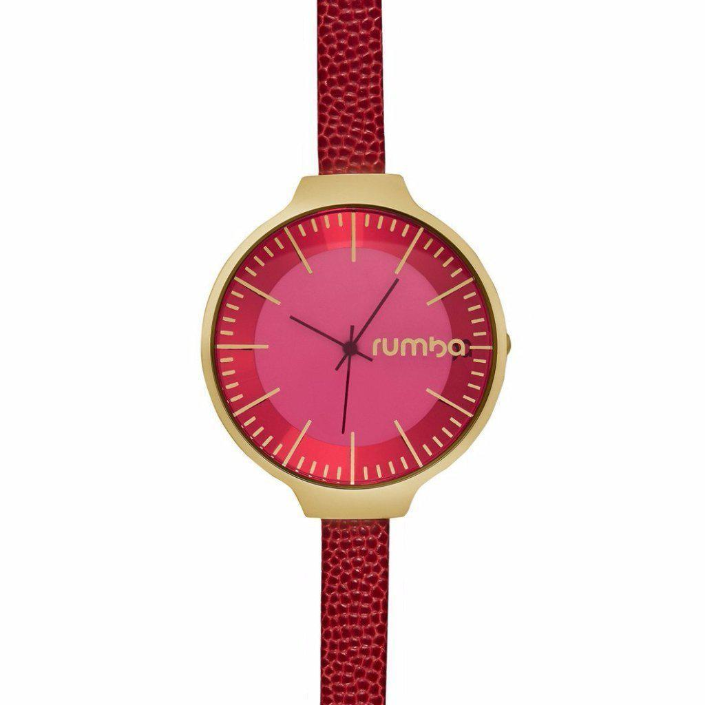 Orchard Leather Watch in Merlot Red & Yellow Gold-Women - Accessories - Watches-RUMBATIME-Peccadilly