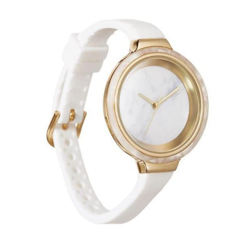 Orchard Marble Watch in White Snow Patrol and Gold