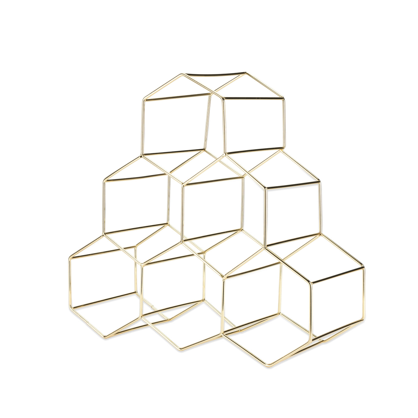 Belmont Geo Gold Hexagon Wine Rack-Home - Decor - Wine Racks-VISKI-Peccadilly