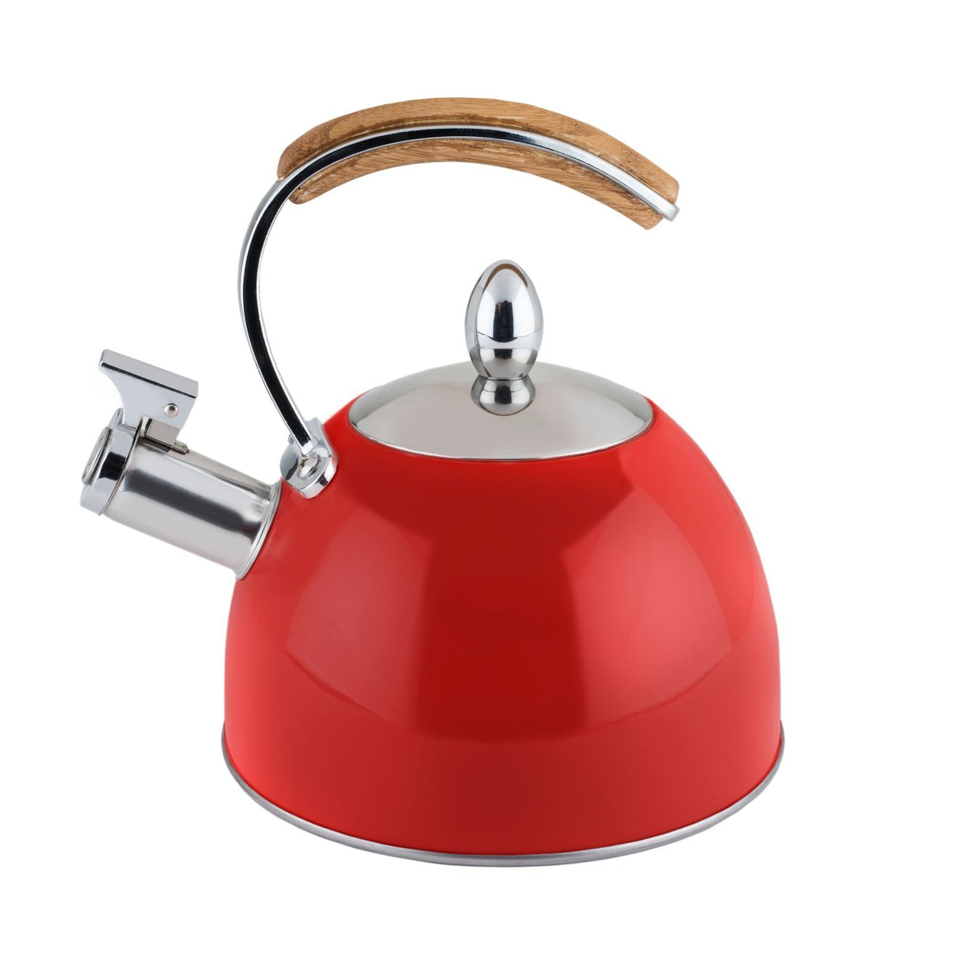 Presley Stainless Steel and Wood Tea Kettle-Home - Coffee + Tea - Tea Pots + Kettles-PINKY UP-Red-Peccadilly