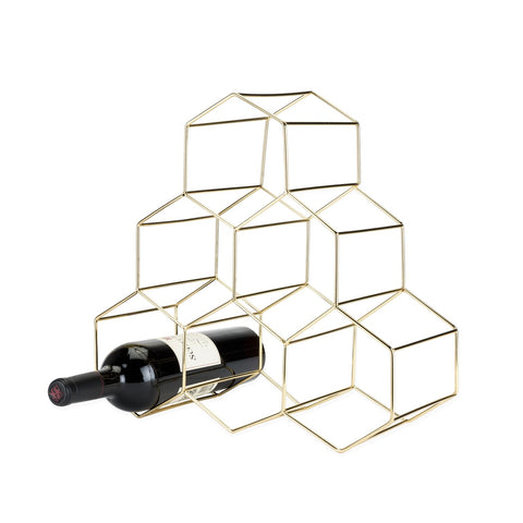 Belmont Geo Gold Hexagon Wine Rack