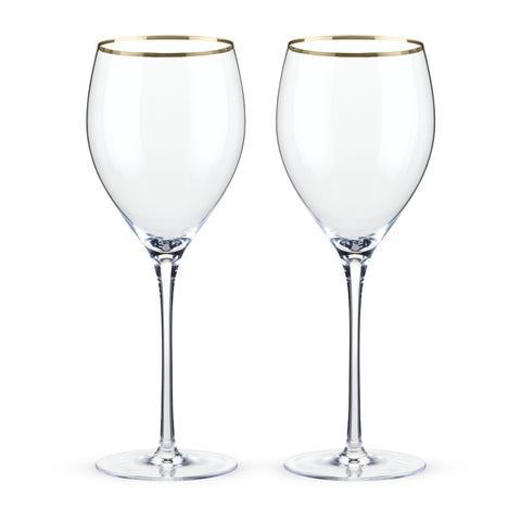 Belmont Gold Rimmed Crystal Red Wine Glasses Set