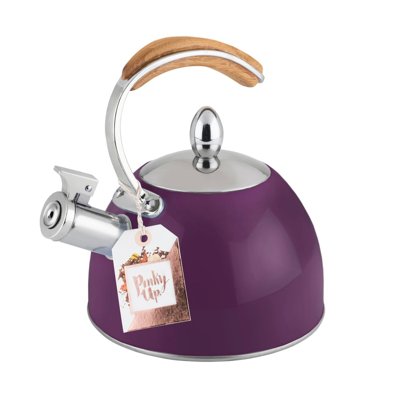 Presley Stainless Steel and Wood Tea Kettle-Home - Coffee + Tea - Tea Pots + Kettles-PINKY UP-Plum-Peccadilly