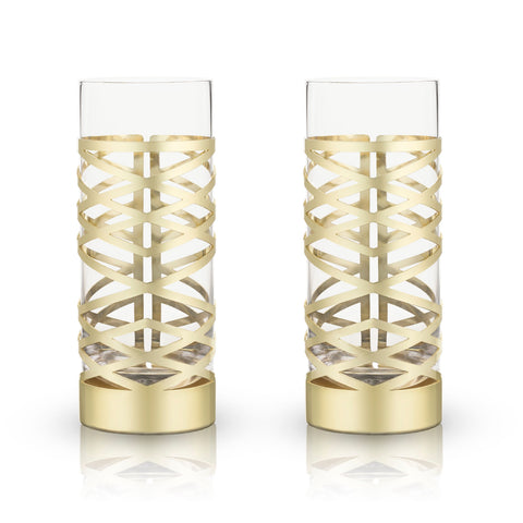 Belmont Gold & Crystal Patterned Highball Glasses