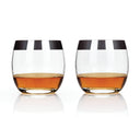 Metallic Rim Crystal Tumblers Set of 2-Home - Entertaining - Tumblers Sets-VISKI-Chrome-Peccadilly
