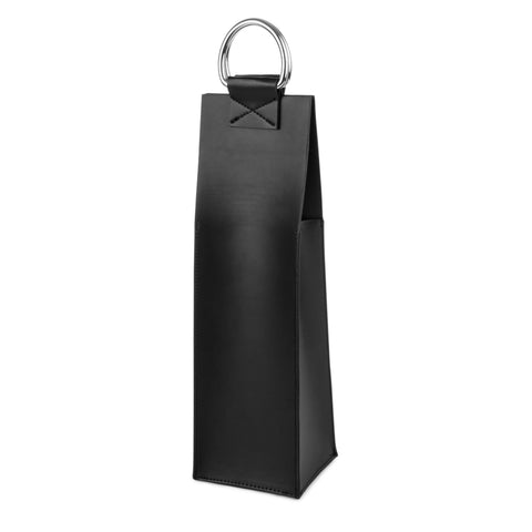 Admiral Faux Leather Black Wine Tote