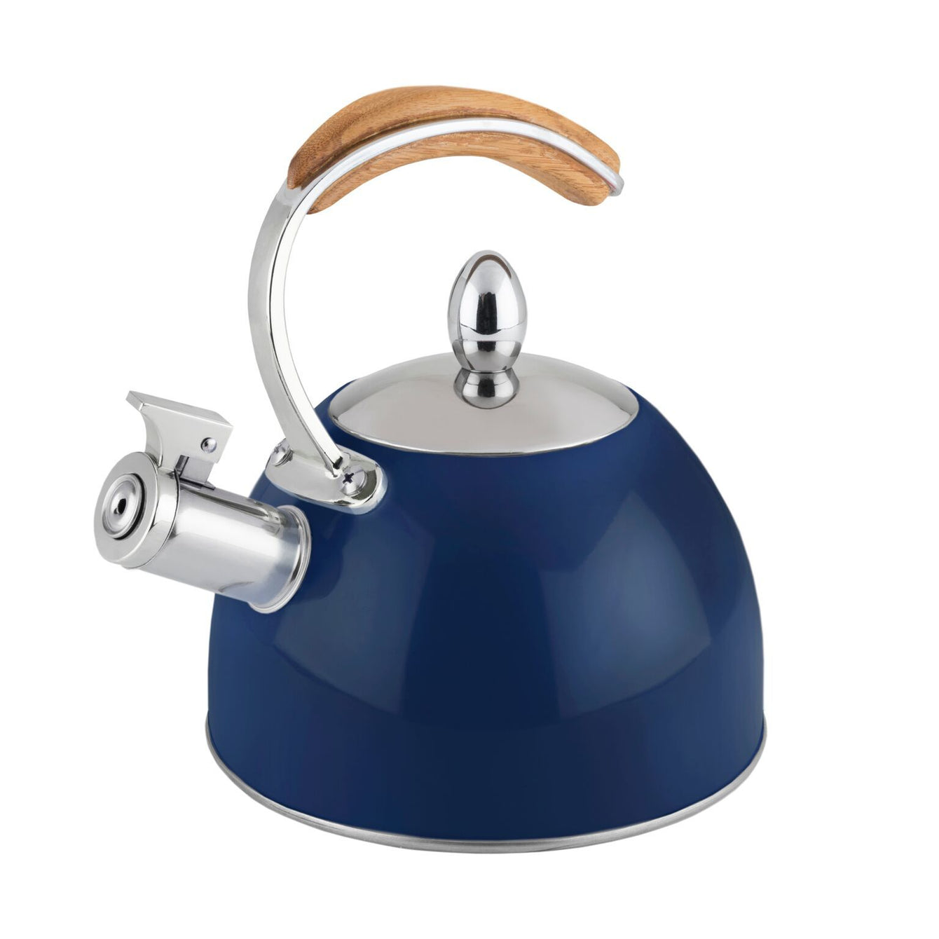 Presley Stainless Steel and Wood Tea Kettle-Home - Coffee + Tea - Tea Pots + Kettles-PINKY UP-Navy Blue-Peccadilly