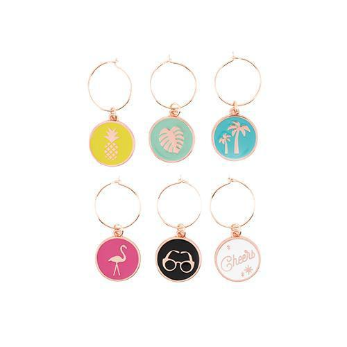 Palm Springs Wine Charms-Home - Entertaining - Drink Markers-BLUSH-Peccadilly