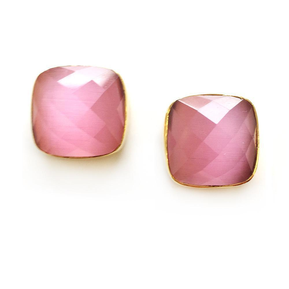Hutchinson Faceted Genuine Gemstone Studs-Women - Jewelry - Earrings-ADDISON WEEKS-Pink Quartz-Peccadilly