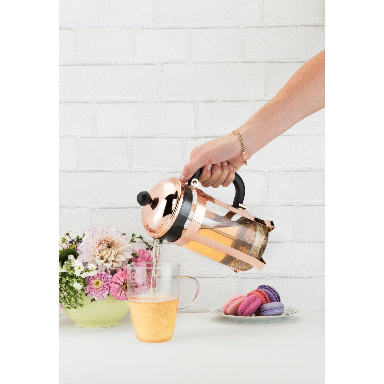 Piper Gold or Rose Gold Tea or Coffee Press Pot-Home - Coffee + Tea - Tea Pots + Kettles-PINKY UP-Rose Gold-Peccadilly