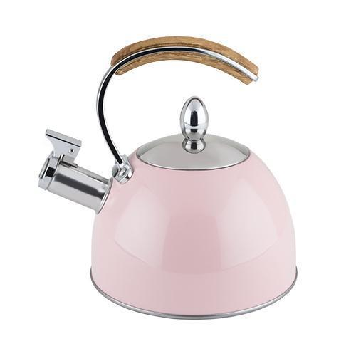 Presley Stainless Steel and Wood Tea Kettle-Home - Coffee + Tea - Tea Pots + Kettles-PINKY UP-Light Pink-Peccadilly