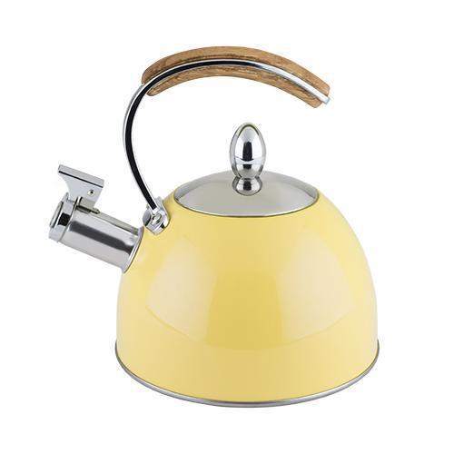Presley Stainless Steel and Wood Tea Kettle-Home - Coffee + Tea - Tea Pots + Kettles-PINKY UP-Yellow-Peccadilly