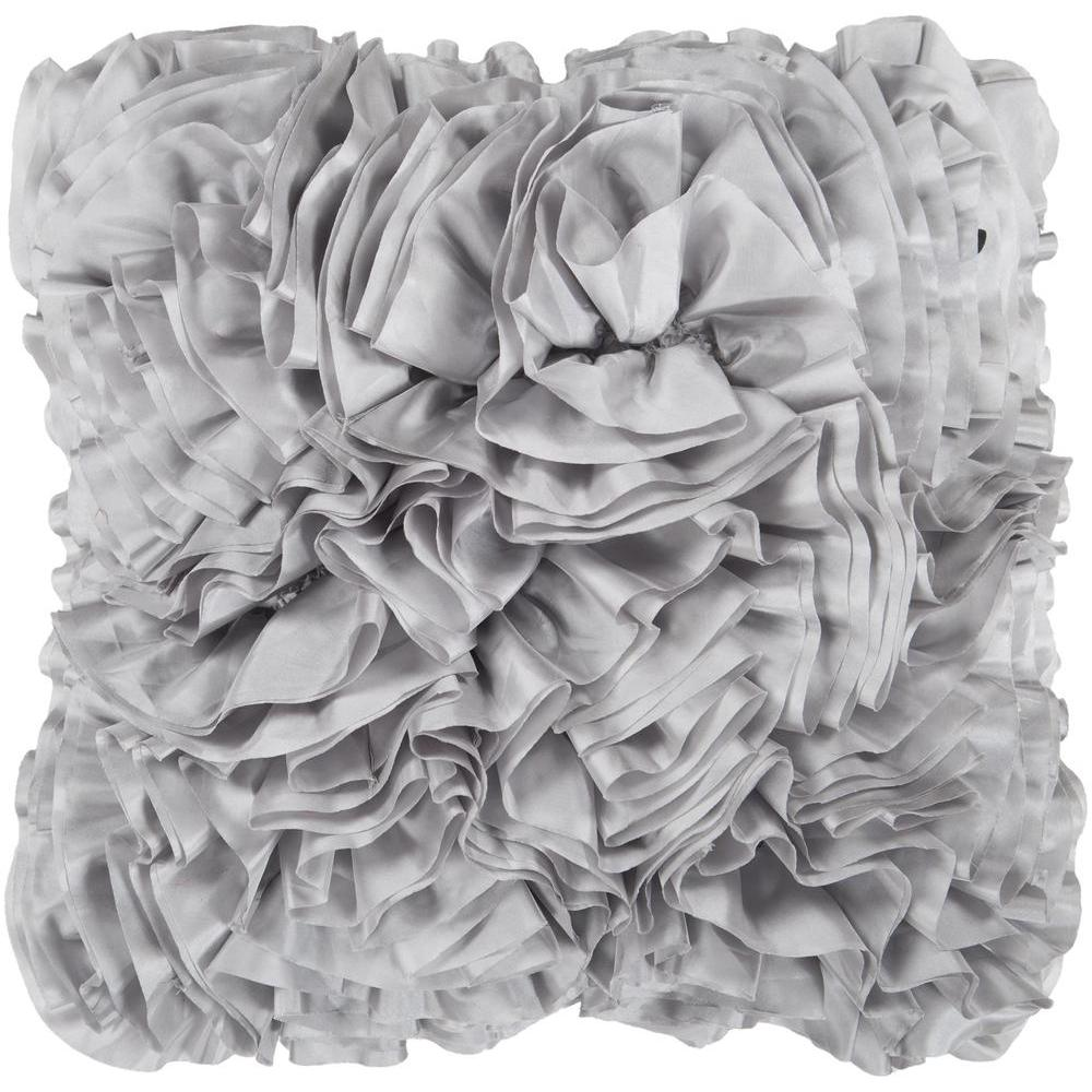 Prom Ruffle Texture Square Throw Pillow-Home - Accessories - Pillows-SURYA-18x18 Case Only-Grey-Peccadilly