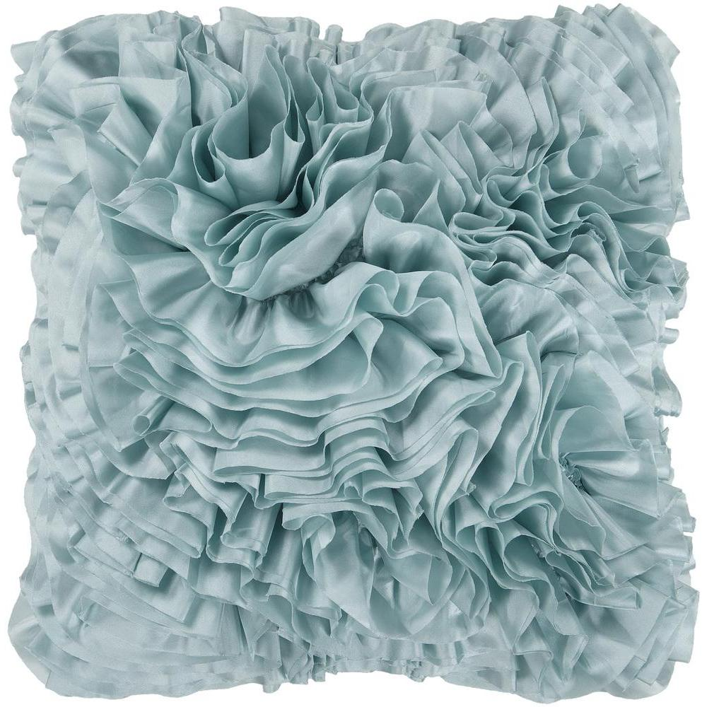 Prom Ruffle Texture Square Throw Pillow-Home - Accessories - Pillows-SURYA-18x18 Case Only-Mint-Peccadilly