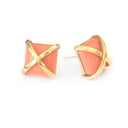 Martin 24k Gold Gemstone Criss Cross Studs-Women - Jewelry - Earrings-ADDISON WEEKS-Peach Coral-Peccadilly