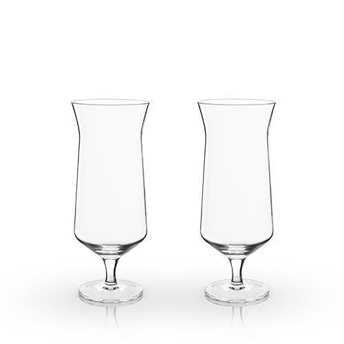 Angled Lead Free Crystal Hurricane Glasses Gift Set of 2-Home - Entertaining - Cocktail Glasses Sets-VISKI-Peccadilly