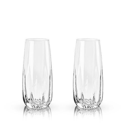 Raye Crystal Cactus Champagne Flutes-Home - Entertaining - Champagne Glasses Sets-VISKI-Peccadilly