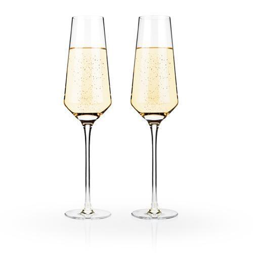 Raye Lead Free Crystal Stemware and Bar Glass Collection-Home - Entertaining - Beer Glasses Sets-VISKI-Set of 2 Champagne Flutes-Peccadilly