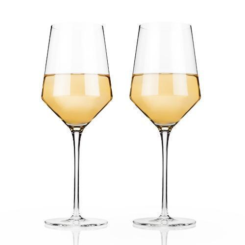 Raye Lead Free Crystal Stemware and Bar Glass Collection-Home - Entertaining - Beer Glasses Sets-VISKI-Set of 2 Chardonnay Glasses-Peccadilly