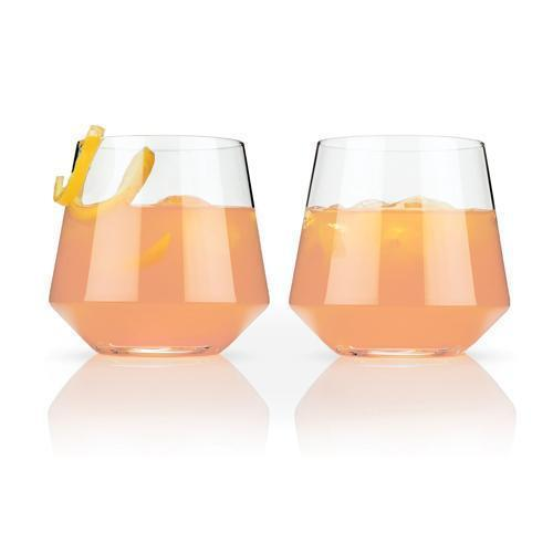 Raye Lead Free Crystal Stemware and Bar Glass Collection-Home - Entertaining - Beer Glasses Sets-VISKI-Set of 2 Cocktail Tumblers-Peccadilly